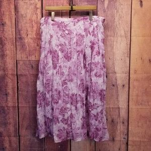 J Jill Floral Linen Pleated Long Maxi Skirt